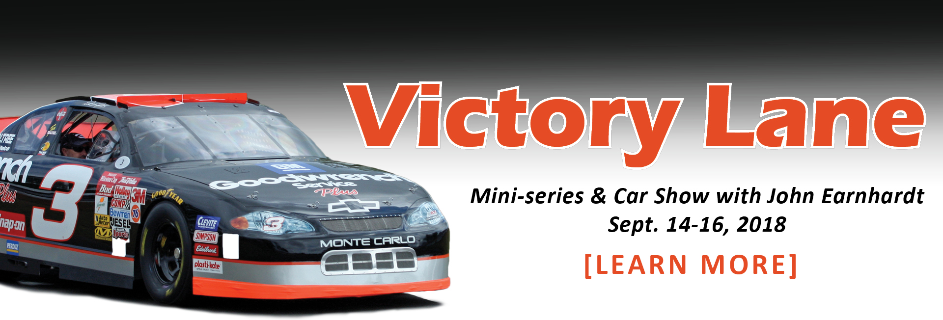 Victory Lane - mini-series by John Earnhardt starts Friday, Sept. 14 @ 7:00 p.m.